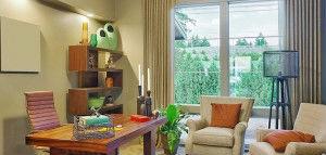 Colorida sala de estar urbana