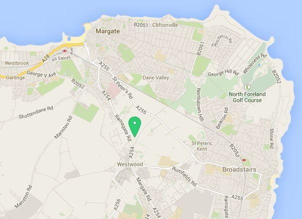 Mapa de la ubicación de la tienda de Wren Kitchens Thanet